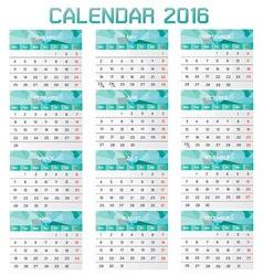 Collection of Calendar 2016 Design Template vector image vector image
