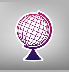 Earth globe sign purple gradient icon on vector