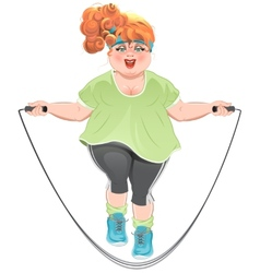 Fat woman skipping rope vector