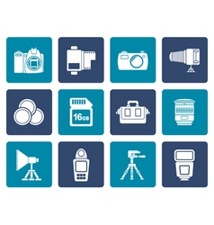 Flat photography equipment and tools icons vector