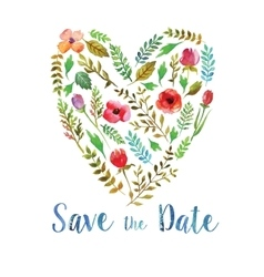Heart of watercolor leaves wedding invitation vector image