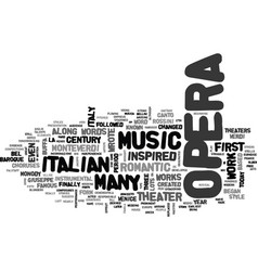 Italian opera text background word cloud concept vector
