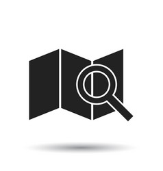 Location with magnifier icon flat location sign vector