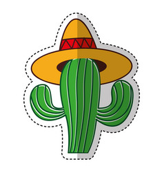 Mexican cactus with hat isolated icon vector