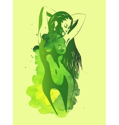 Nude women on the green watercolor background vector