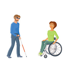 people with disabilities - woman in wheelchair vector image vector image