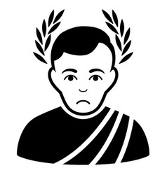 Sad caesar wreath black icon vector