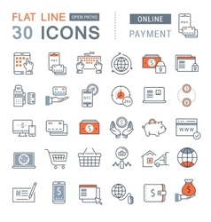Set flat line icons online payment vector