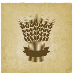 sheaf of wheat with ribbon vintage background vector image