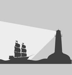 ship on the water with a lighthouse vector image