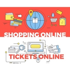 Shopping and tickets online concept vector