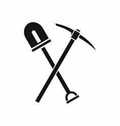 Shovel and pickaxe icon simple style vector