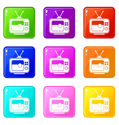 Soccer match on tv icons 9 set vector