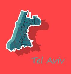 Tel aviv sticker map artprint landmass water and vector