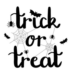 trick or treat halloween lettering with spiders vector image