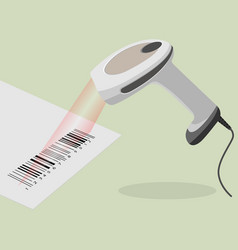 white handheld barcode scanner scanning bar code vector image