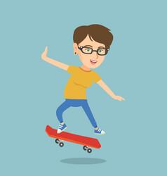 young caucasian woman riding skateboard vector image