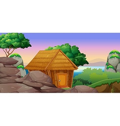 Nature scene with hut by the lake vector