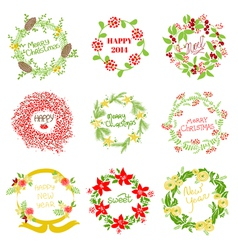 Set of vintage christmas and new year wreath vector