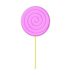 lollipop pink on stick isolated candy on white vector image