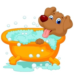 Cartoon dog bathing time vector