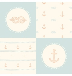 Retro anchor pattern set vector
