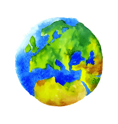 Watercolor globe vector