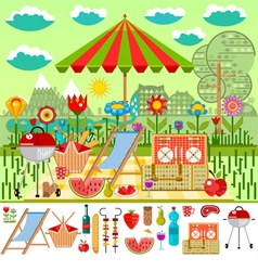 Summer picnic in the meadow with mountain views vector