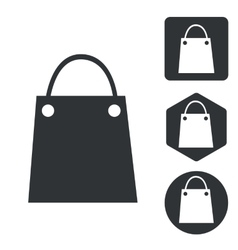 Shopping bag icon set monochrome vector