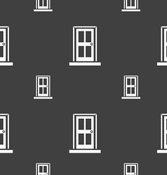 Door icon sign seamless pattern on a gray vector