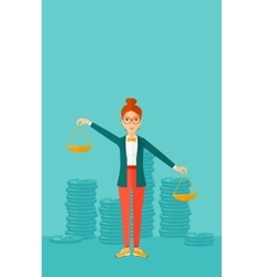 Business woman with scales vector