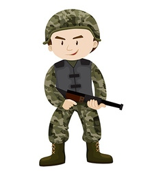 Soldier with rifle gun vector