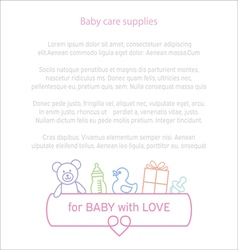 Border of baby care supplies with place for your vector