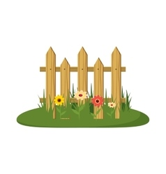 Fence with flowers icon cartoon style vector