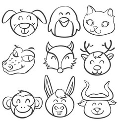 Animal head funny doodle collection vector