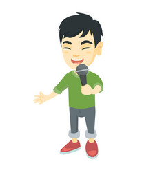 asian little boy singing into a microphone vector image vector image