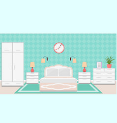 Bedroom interior in classic style with furniture vector