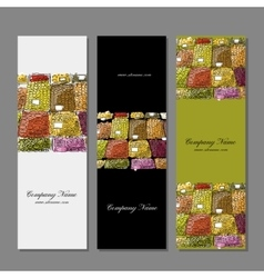 Business cards design fruit market sketch vector