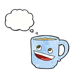 Cartoon coffee mug with thought bubble vector