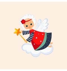 Christmas angel with a magic wand vector
