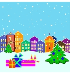 christmas town with presents and tree vector image
