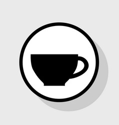 Cup sign flat black icon in white circle vector