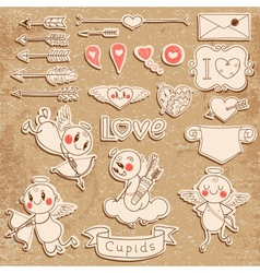 Cupids arrows hearts and other vintage elements vector image