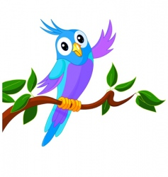 cute cartoon parrot vector image vector image