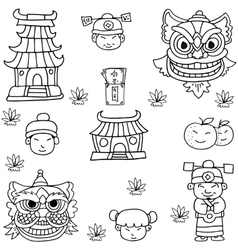 Doodle of chinese element collection vector