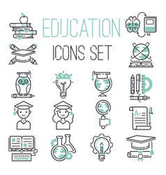 education outline black school symbol and green vector image
