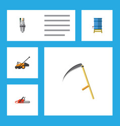 flat icon dacha set of hacksaw lawn mower pump vector image vector image