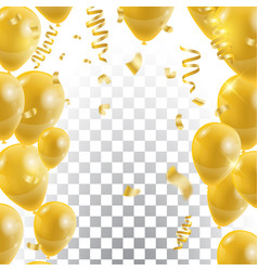 golden balloons celebration background template vector image