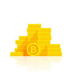 Golden bitcoins stack icon for cryptocurrency vector