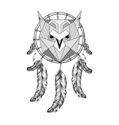Hand drawn zentangle Owl Bird on Dream catcher vector image
